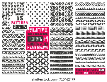 Set of 8 primitive geometric patterns collection. Includes 15 vector pattern brushes for Illustrator. Tribal seamless backgrounds with grunge texture. Modern trendy prints in linocut style. EPS10.