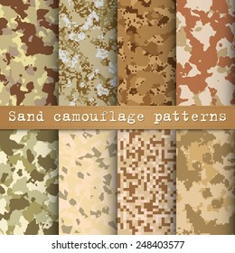 Set of 8 sand camouflage patterns vector