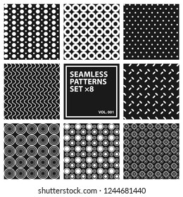 The set of 8 seamless patterns vol. 001. Retro modern graphic worck for textile or other.