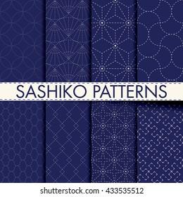 Set of 8 seamless porcelain indigo blue and white traditional Japanese sashiko textile stitched patterns vector