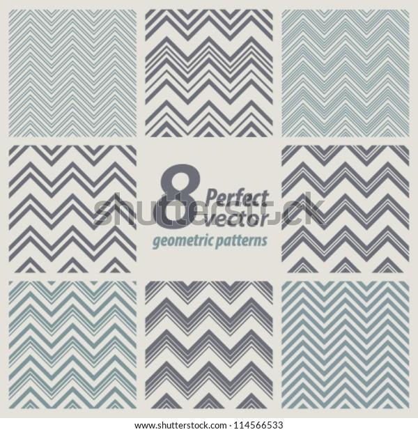 A set of 8 seamless retro Zig zag patterns.