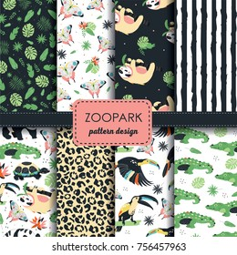 Set of 8 seamless ZOO pattern with exotic flora and fauna