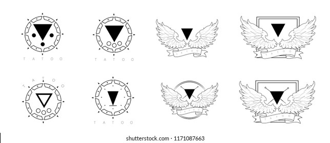 Set of 8 sketches of tattoo, logo with wings, geometry. Sketch of tattoo on shoulder, arms, legs, back, shoulders, head. Printing on clothes (T-shirts, sweatshirts, hoodies), mugs, caps, notebooks.