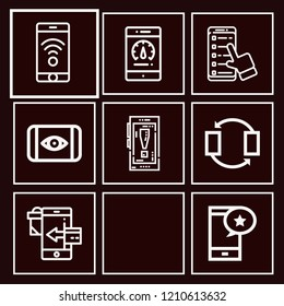 Set of 8 smartphone outline icons such as wifi connection, smartphone, transfer, payment method, ocular unlocking