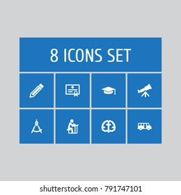 Set Of 8 Studies Icons Set.Collection Of Marrow, Academic Hat, Magnet Navigator And Other Elements.