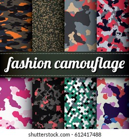 Set of 8 various colorful camouflage vector patterns