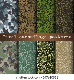 Set of 8 various pixel camouflage patterns vector