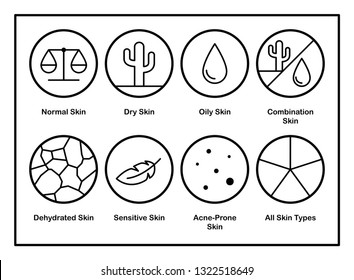 Set of 8 vector icons. Different skin types. Cosmetic icons. Black and white.