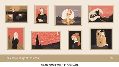 Set of 8 vector paintings, flat minimalism. Inspired by Dali, da Vinci, Botticelli, Hokusai, Munch, Van Gogh, Vermeer and Klimt.