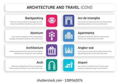 Set of 8 white architecture and travel icons such as Backpacking, Atomium, Architecture, Arch, Arc de triomphe, Apartments isolated on colorful background