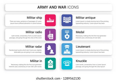 Set of 8 white army and war icons such as militar ship, Militar Radio, Radar, In, antique building, Medal isolated on colorful background