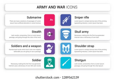 Set of 8 white army and war icons such as Submarine, stealth, Soldiers a weapon, Soldier, Sniper Rifle, Skull Army isolated on colorful background