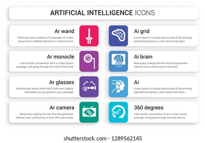 Set of 8 white artificial intelligence icons such as Ar wand, monocle, glasses, camera, AI grid, ai Brain isolated on colorful background