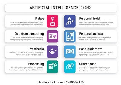 Set of 8 white artificial intelligence icons such as Robot, Quantum computing, Prosthesis, Processing, Personal droid, assistant isolated on colorful background