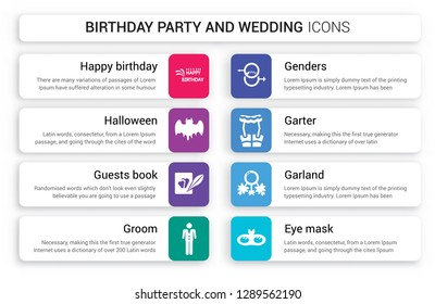 Set of 8 white birthday party and wedding icons such as Happy birthday, Halloween, Guests book, Groom, Genders, Garter isolated on colorful background