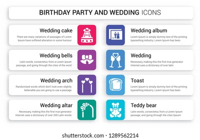 Set of 8 white birthday party and wedding icons such as Wedding cake, Bells, arch, Altar, Album, isolated on colorful background