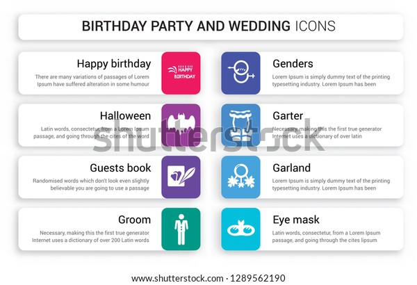 Set 8 White Birthday Party Wedding Stock Vector (Royalty
