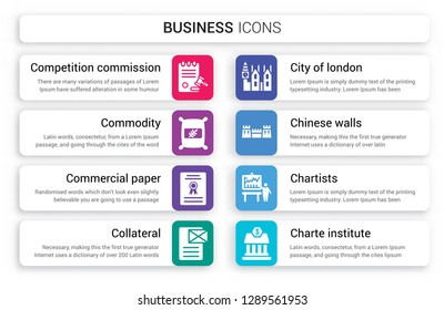 Set of 8 white business icons such as Competition Commission, Commodity, Commercial paper, Collateral, City London, Chinese walls isolated on colorful background