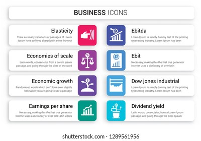 Set of 8 white business icons such as Elasticity, Economies scale, Economic growth, Earnings per share (EPS), Ebitda, Ebit isolated on colorful background