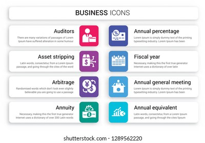Set of 8 white business icons such as Auditors, Asset stripping, Arbitrage, Annuity, Annual percentage rate (APR), Fiscal year isolated on colorful background