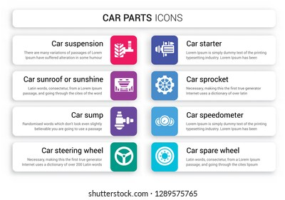 Set of 8 white car parts icons such as suspension, sunroof or sunshine roof, sump, steering wheel, starter, sprocket isolated on colorful background