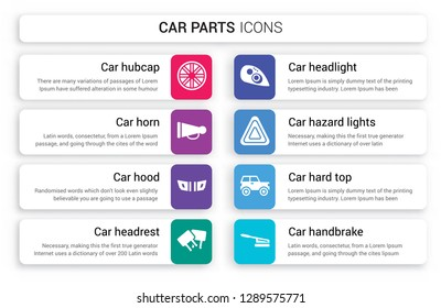 Set of 8 white car parts icons such as hubcap, horn, hood, headrest, headlight, hazard lights isolated on colorful background