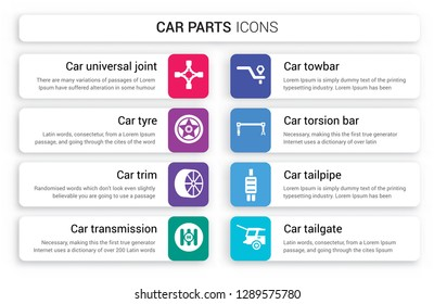 Set of 8 white car parts icons such as universal joint, tyre, trim, transmission, towbar, torsion bar isolated on colorful background