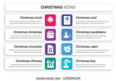 Set of 8 white christmas icons such as clock, Christmas Bag, chocolate, Chimney, card, candelabra isolated on colorful background