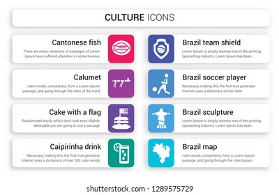 Set of 8 white culture icons such as Cantonese Fish, Calumet, Cake with a flag, Caipirinha drink glass Brazil, Brazil team shield, soccer player isolated on colorful background