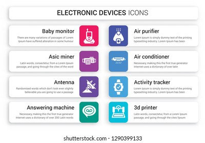 Set of 8 white electronic devices icons such as baby monitor, asic miner, Antenna, answering machine, Air purifier, conditioner isolated on colorful background