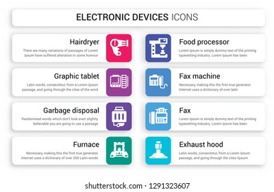 Set of 8 white electronic devices icons such as Hairdryer, Graphic tablet, garbage disposal, furnace, food processor, Fax Machine isolated on colorful background