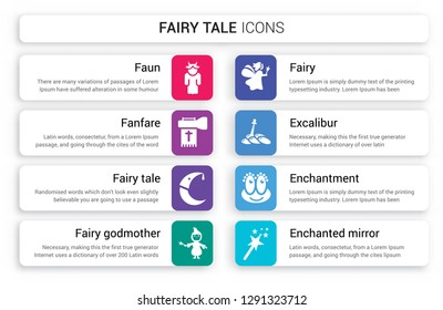 Set of 8 white fairy tale icons such as Faun, Fanfare, Fairy tale, godmother, Fairy, Excalibur isolated on colorful background