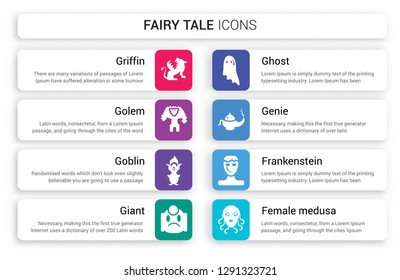 Set of 8 white fairy tale icons such as Griffin, Golem, Goblin, Giant, Ghost, Genie isolated on colorful background
