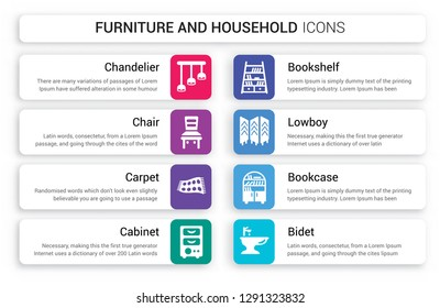 Set of 8 white furniture and household icons such as Chandelier, Chair, Carpet, Cabinet, Bookshelf, lowboy isolated on colorful background