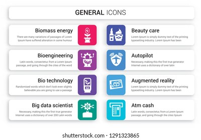 Set of 8 white general icons such as biomass energy, bioengineering, bio technology, big data scientist, beauty care, autopilot isolated on colorful background