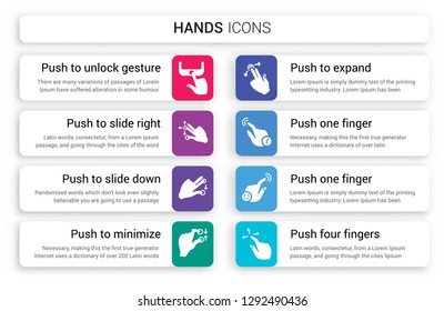 Set of 8 white hands icons such as Push to unlock gesture, slide right and left down, minimize gesture isolated on colorful background