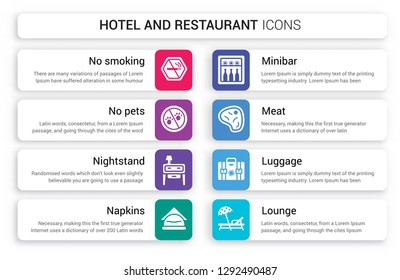 Set of 8 white hotel and restaurant icons such as No smoking, pets, Nightstand, Napkins, Minibar, Meat isolated on colorful background