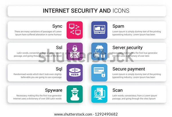 Set 8 White Internet Security Icons Stock Vector (Royalty