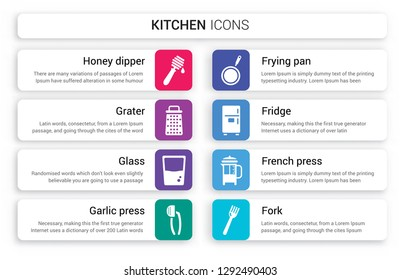 Set of 8 white kitchen icons such as honey dipper, Grater, glass, garlic press, Frying pan, Fridge isolated on colorful background