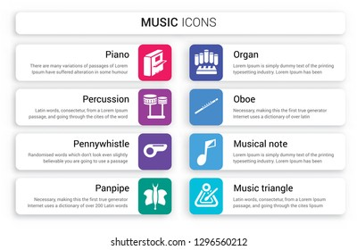 Set of 8 white music icons such as Piano, Percussion, Pennywhistle, Panpipe, Organ, Oboe isolated on colorful background