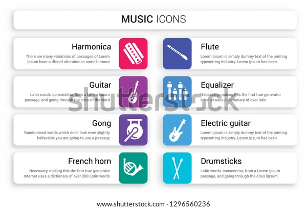 Set 8 White Music Icons Such Stock Vector (Royalty Free) 1296560236