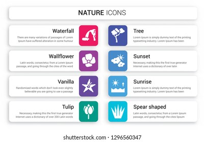 Set of 8 white nature icons such as Waterfall, Wallflower, Vanilla, Tulip, Tree, Sunset isolated on colorful background