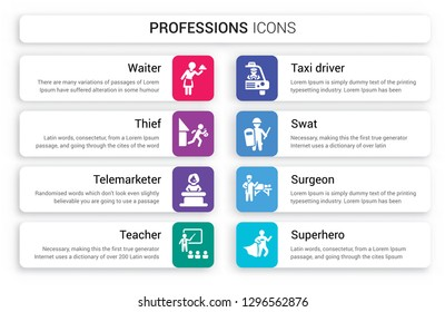 Set of 8 white professions icons such as Waiter, Thief, Telemarketer, Teacher, Taxi driver, Swat isolated on colorful background