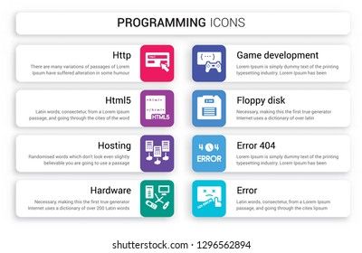 Set of 8 white programming icons such as Http, Html5, Hosting, Hardware, Game development, Floppy disk isolated on colorful background