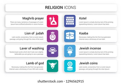 Set of 8 white religion icons such as Maghrib prayer, Lion  Judah, Laver Washing, Lamb God, Kotel, Kaaba isolated on colorful background