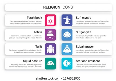 Set of 8 white religion icons such as Torah Book, Tefilin, Tallit, Sujud Posture, Sufi Mystic, Sufganiyah isolated on colorful background