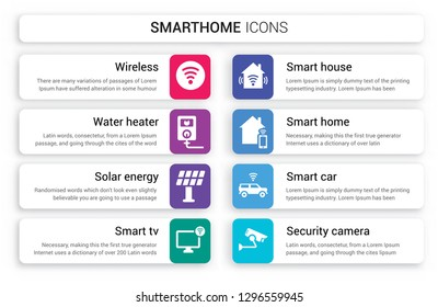 Set of 8 white smarthome icons such as Wireless, Water heater, Solar energy, Smart tv, smart House, home isolated on colorful background
