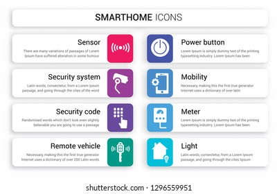 Set of 8 white smarthome icons such as Sensor, Security system, code, Remote vehicle, Power button, Mobility isolated on colorful background