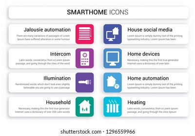 Set of 8 white smarthome icons such as Jalousie automation, Intercom, Illumination, Household, House Social media, Home Devices isolated on colorful background