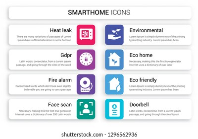 Set of 8 white smarthome icons such as heat leak, GDPR, Fire alarm, Face scan, Environmental, Eco home isolated on colorful background